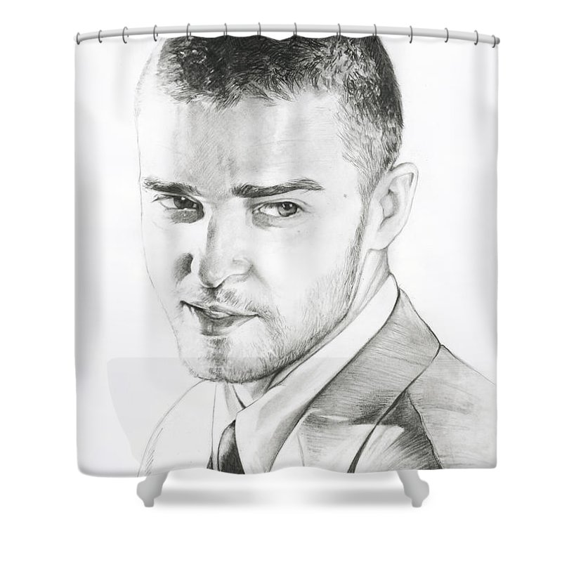 Lin Petershagen Shower Curtain featuring the drawing Justin Timberlake Drawing by Lin Petershagen