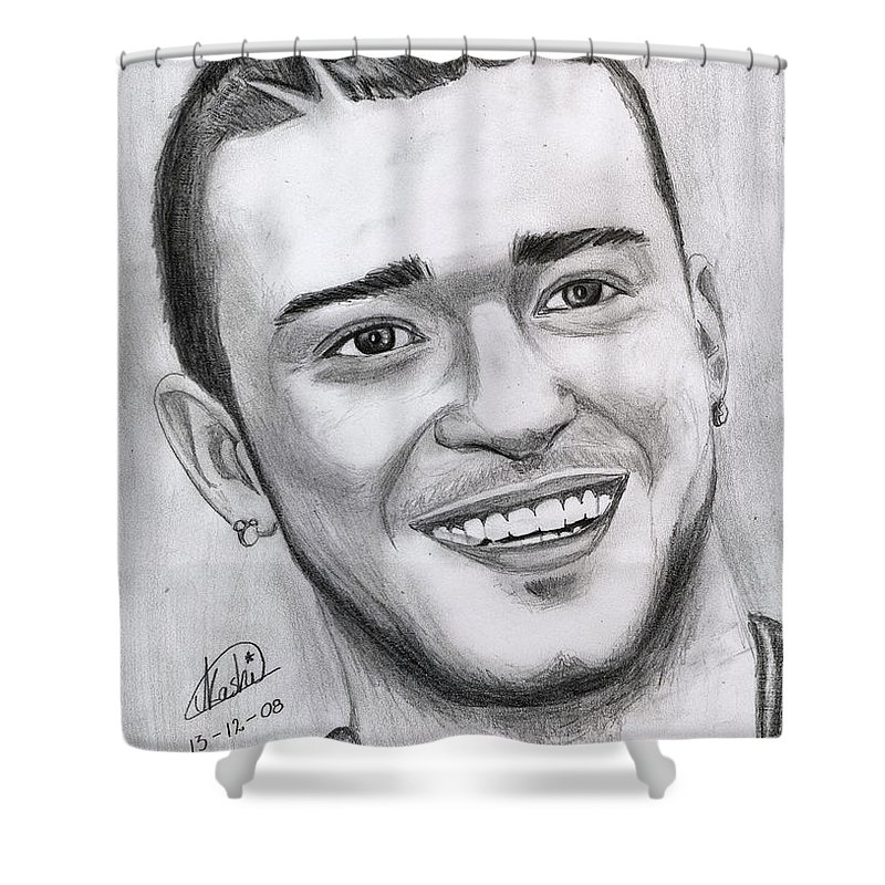 Justing Timberlake Shower Curtain featuring the drawing Justing Timberlake Portrait by Alban Dizdari