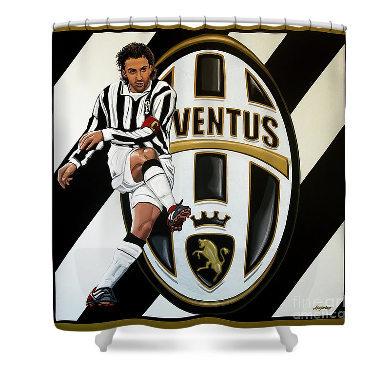 Juventus Shower Curtain featuring the painting Juventus Fc Turin Painting by Paul Meijering