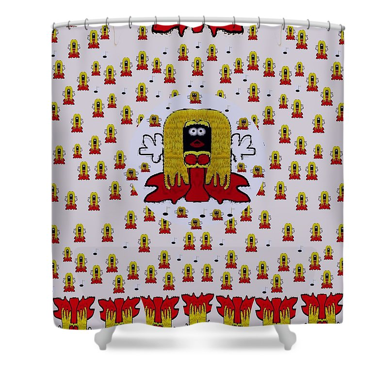 Cartoon Shower Curtain Featuring The Mixed Media Jynx Pokemon Is Singing By Pepita Selles