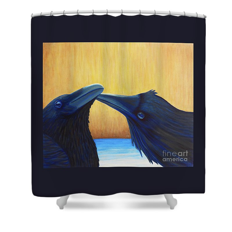 Ravens Shower Curtain featuring the painting K And B by Brian Commerford