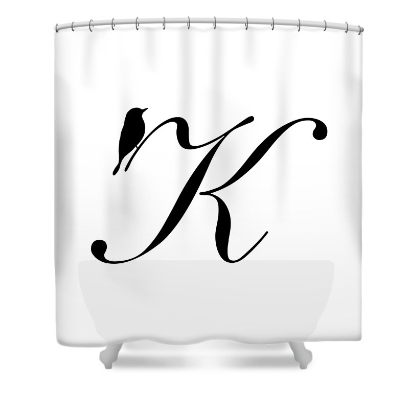 K Shower Curtain Featuring The Digital Art In Black Bird And Script By Custom Home