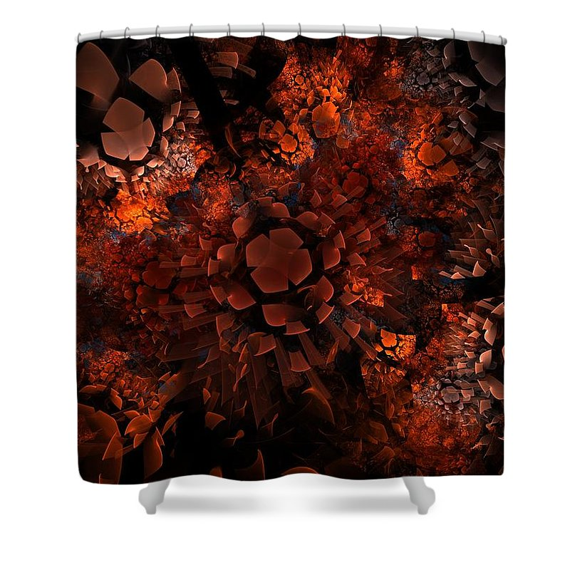Fractal Shower Curtain featuring the digital art Ka-blam-oh by Lyle Hatch