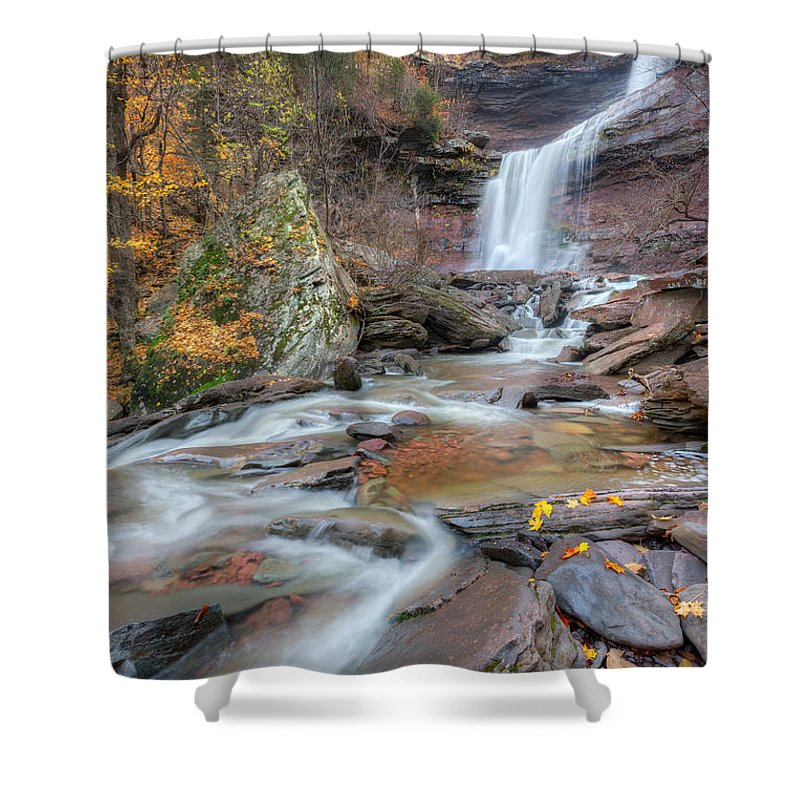 Kaaterskill Clove Shower Curtain featuring the photograph Kaaterskill Falls Autumn Portrait by Bill Wakeley