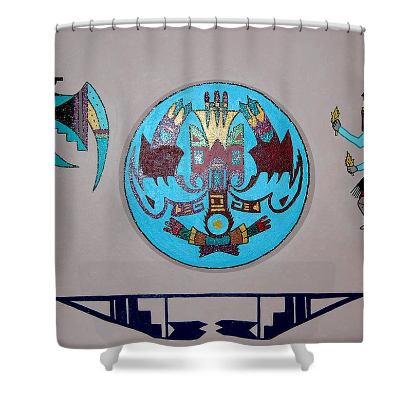 Native American Art Shower Curtain featuring the painting Kachina Dance by Marco Morales