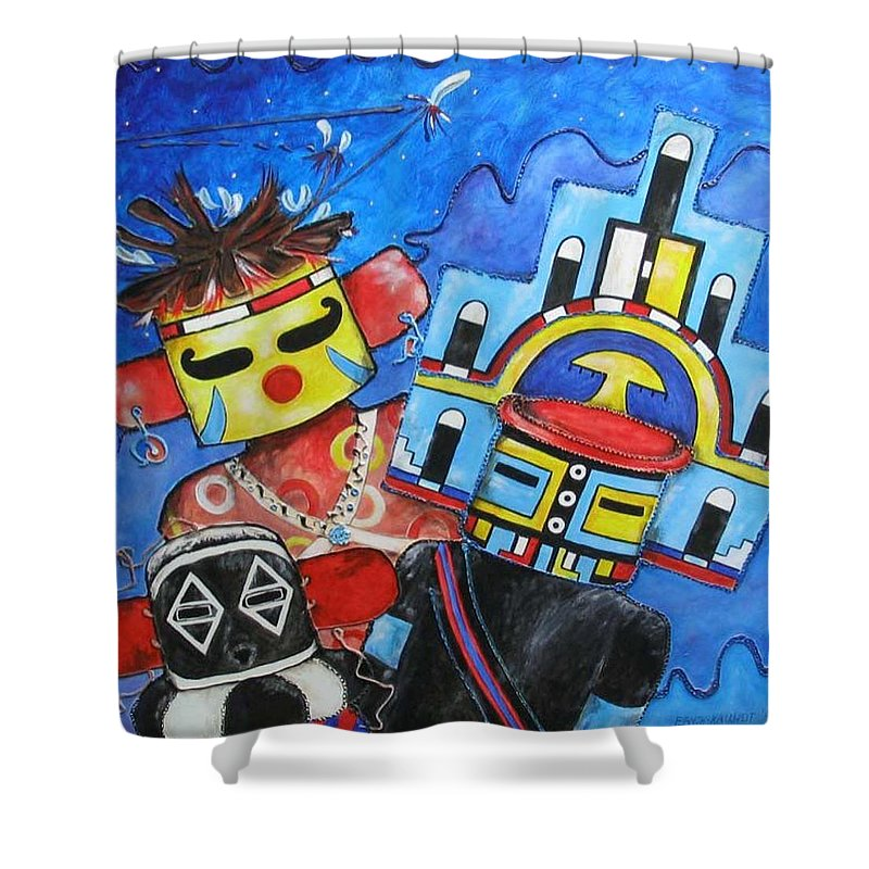 Native Shower Curtain featuring the painting Kachina Knights by Elaine Booth-Kallweit