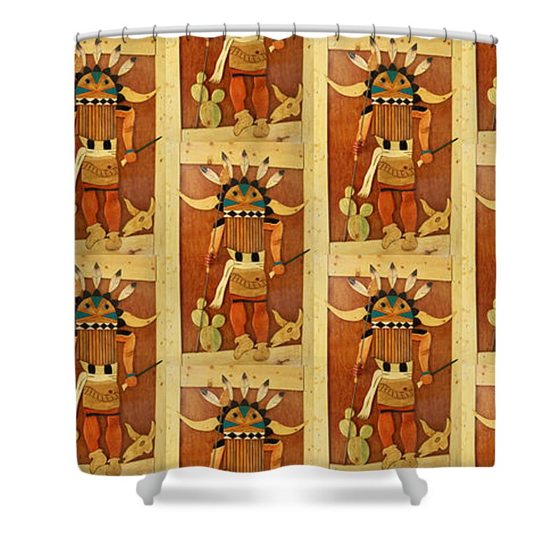 Kachina Shower Curtain featuring the painting Kachina by Patrick Trotter