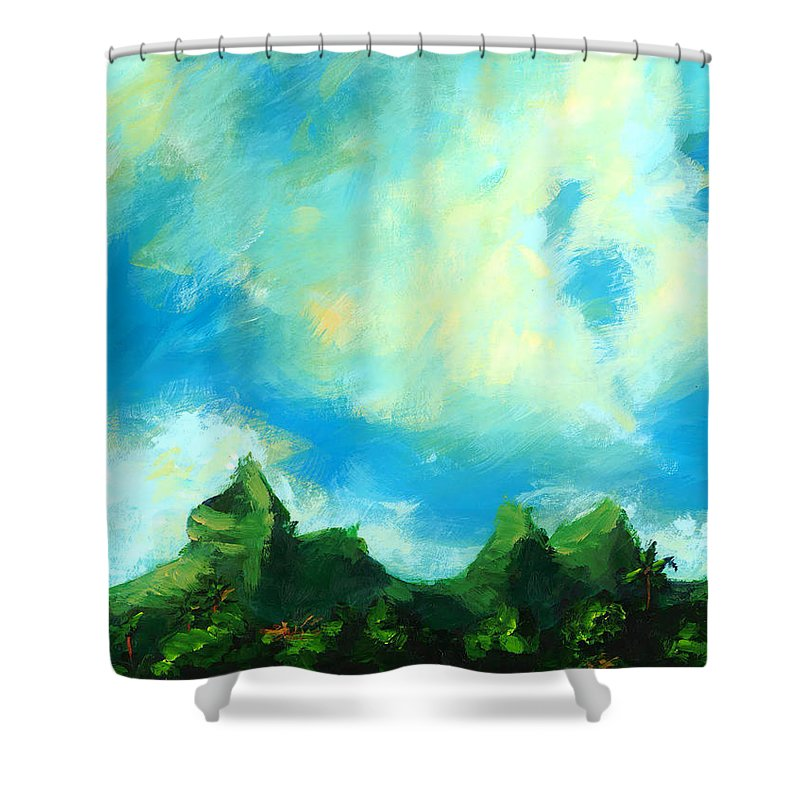 Sky Shower Curtain featuring the painting Kahiki by Hanako Hawaii