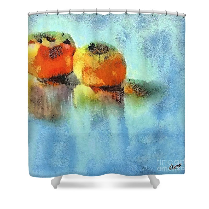 Fruits Shower Curtain featuring the pastel Kaki Couple by Dragica Micki Fortuna