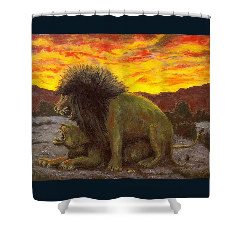 Lions Shower Curtain featuring the painting Kalahari Sunset by George I Perez