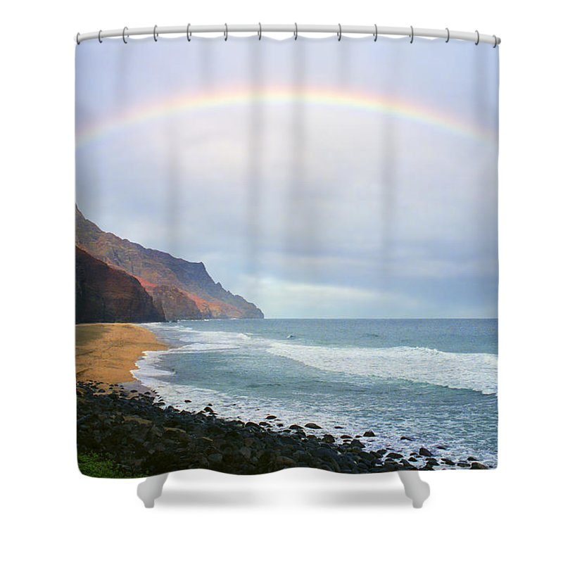 Rainbow Shower Curtain featuring the photograph Kalalau Beach Rainbow by Kevin Smith