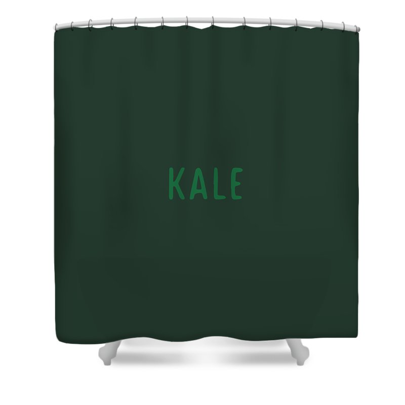 Text Shower Curtain featuring the digital art Kale by Cortney Herron