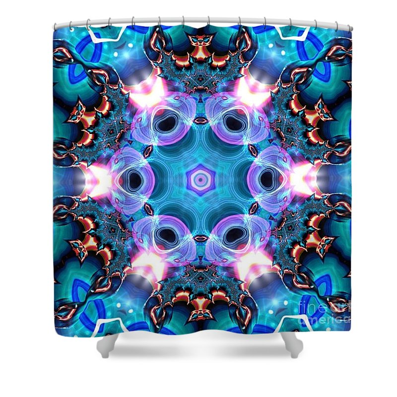 Art Shower Curtain featuring the digital art Kaleidoscope 1 by JD Poplin