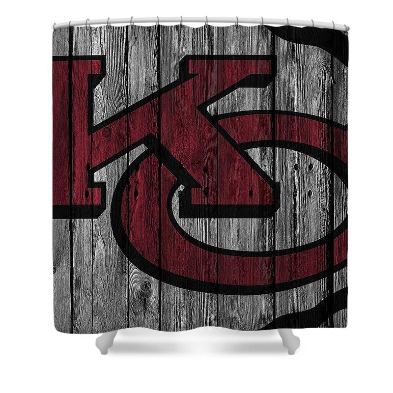 Kansas City Chiefs Shower Curtain Featuring The Photograph Wood Fence By Joe Hamilton