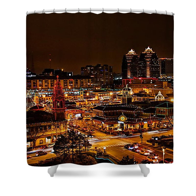 Kansas City Country Club Plaza Christmas Lights Shower Curtain for ...