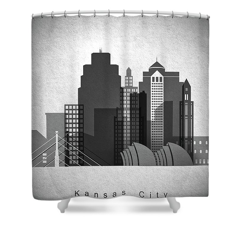 Skyline Shower Curtain featuring the painting Kansas City Skyline In Black And White by Dim Dom