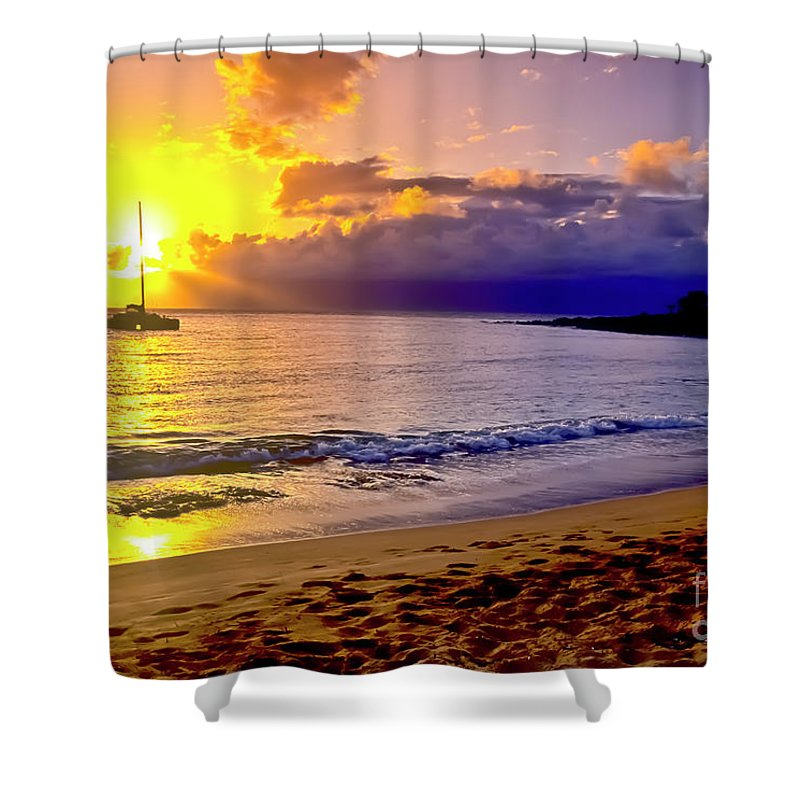 Scenics Shower Curtain featuring the photograph Kapalua Bay Sunset by Jim Cazel