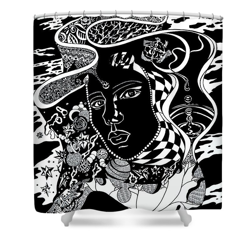 Surreal Shower Curtain featuring the drawing Karma by Yelena Tylkina