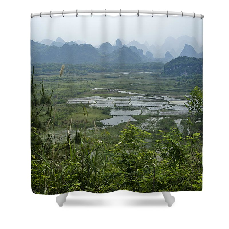 Asia Shower Curtain featuring the photograph Karst Landscape Of Guangxi by Michele Burgess