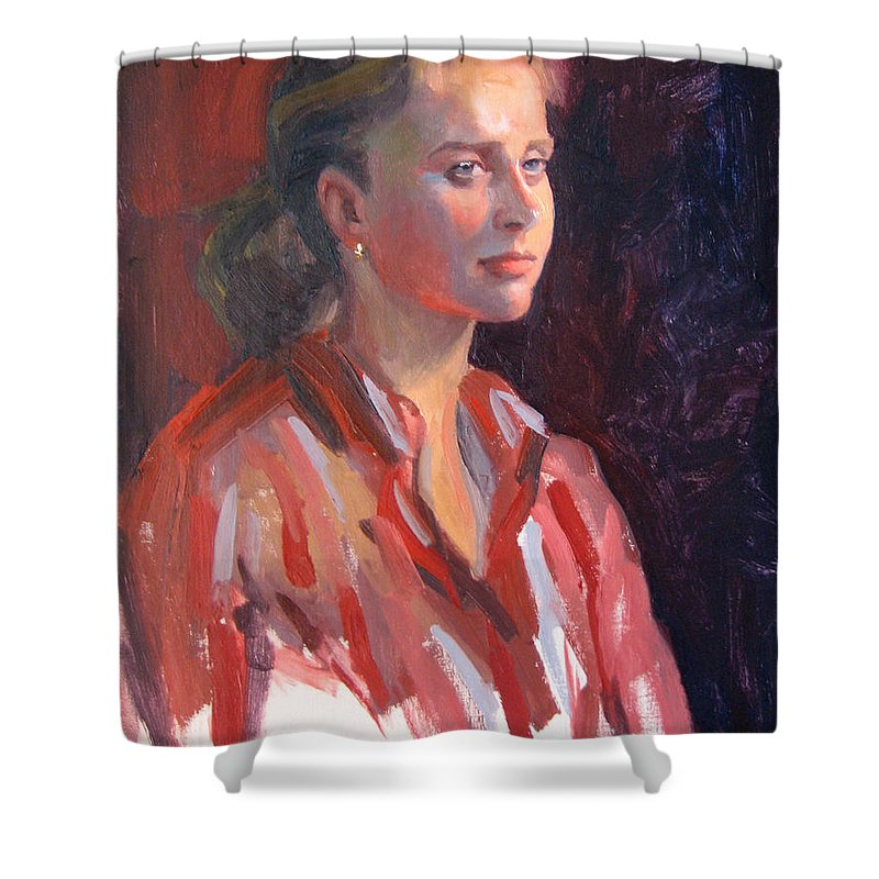 Portrait Shower Curtain featuring the painting Kate by Dianne Panarelli Miller
