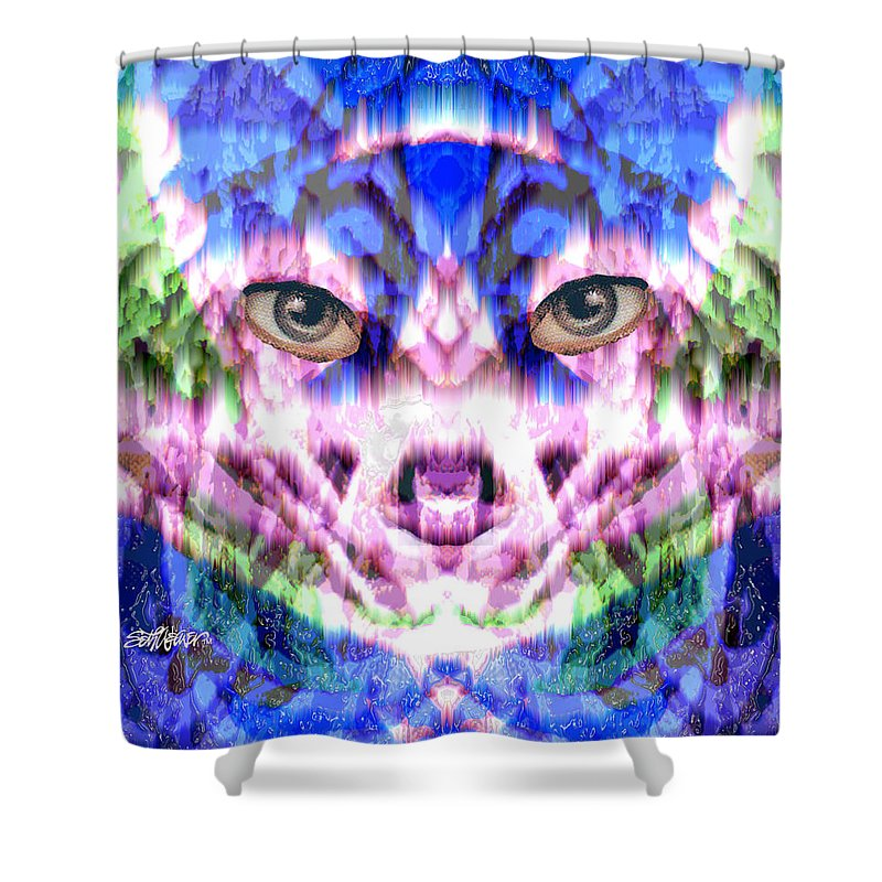 Cat Shower Curtain featuring the digital art Katechism by Seth Weaver