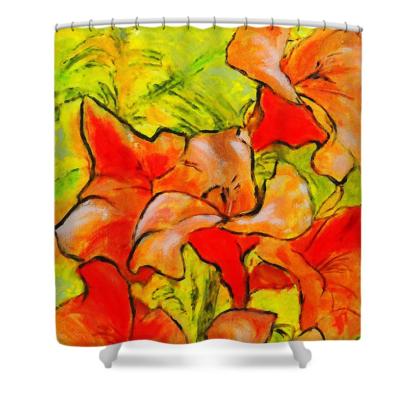 Fine Art Shower Curtain featuring the painting Kathies Daylilies Fine Art Painting North Carolina by G Linsenmayer