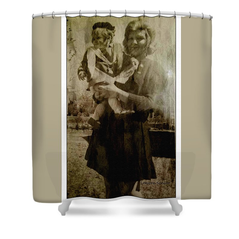 Expressive Shower Curtain featuring the photograph Kathy Holding Kelly by Lenore Senior
