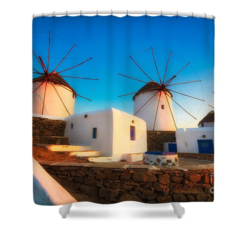 Aegean Sea Shower Curtain featuring the photograph Kato Mili by Inge Johnsson
