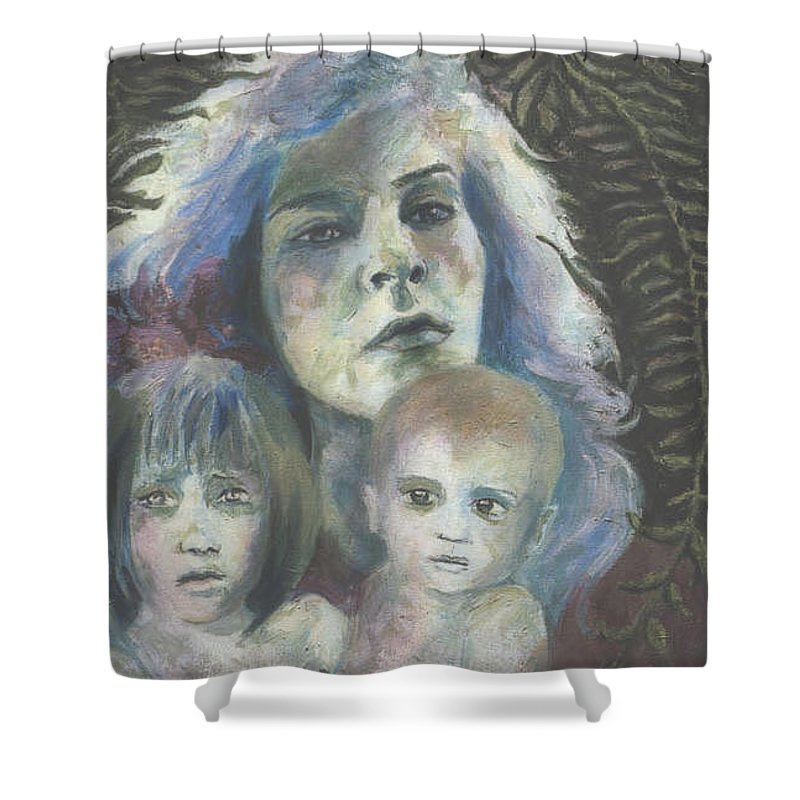 Woman Shower Curtain featuring the painting Katrina by Connie Freid