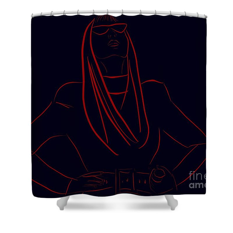 Katy Perry Shower Curtain featuring the painting Katy Perry Silhouette by Jack Bunds