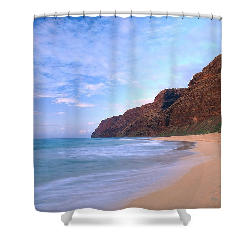 Afternoon Shower Curtain featuring the photograph Kauai, Polihale Beach by Peter French - Printscapes