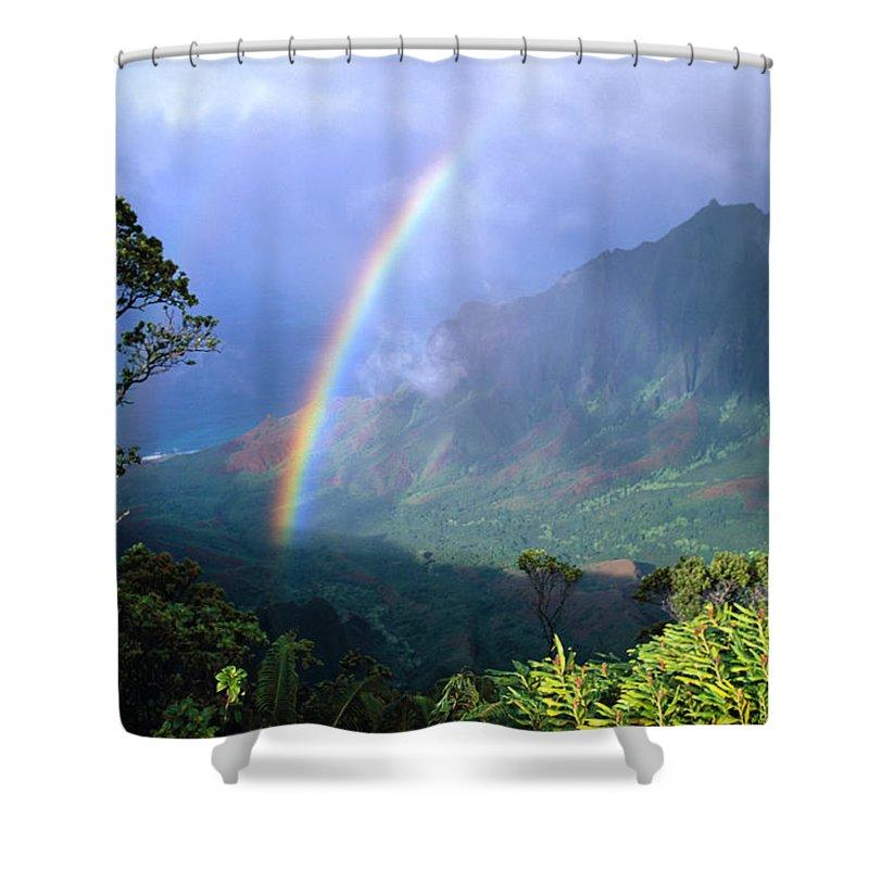 Air Art Shower Curtain featuring the photograph Kauai Rainbow by Brent Black - Printscapes
