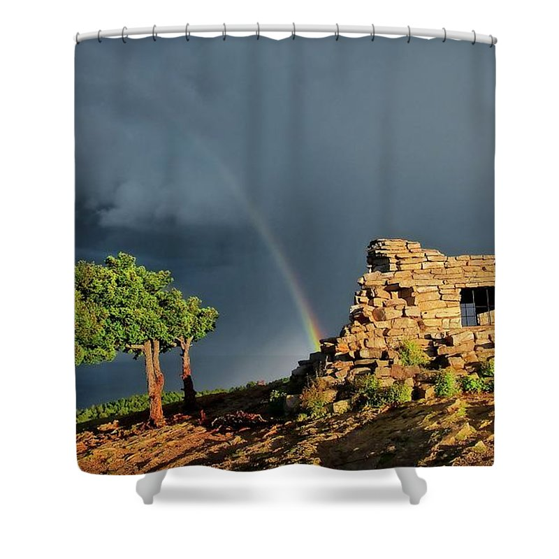 Nature Shower Curtain featuring the photograph Kawanis Cabin Rainbow, Sandia Crest, New Mexico by Zayne Diamond Photographic