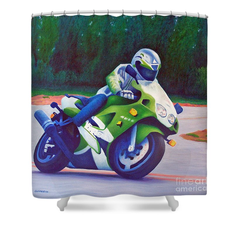 Motorcycle Shower Curtain featuring the painting Kawasaki Zx7 - In The Groove by Brian Commerford