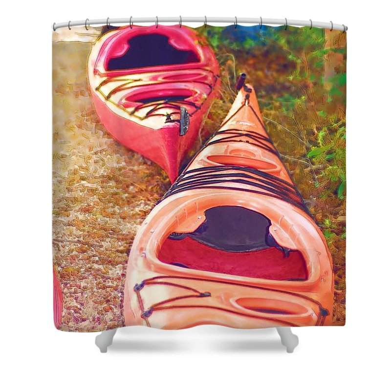 Kayak Shower Curtain featuring the photograph Kayak Time by Donna Bentley