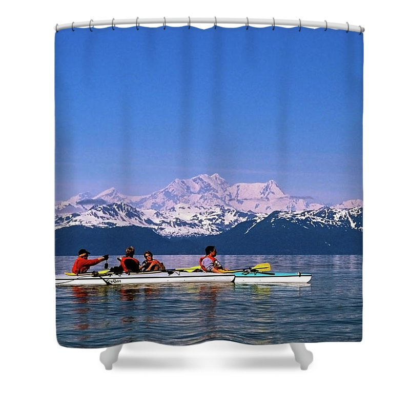 Kayaks Shower Curtain featuring the photograph Kayakers In Alaska by Sally Weigand