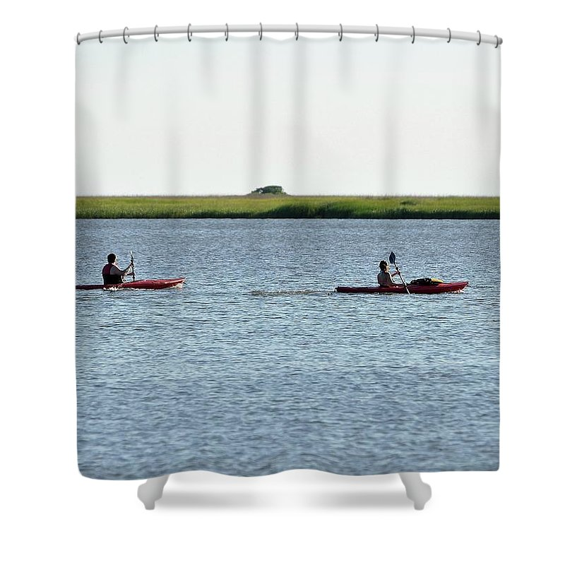 Kayaking Shower Curtain featuring the photograph Kayaking Couple by Al Powell Photography USA