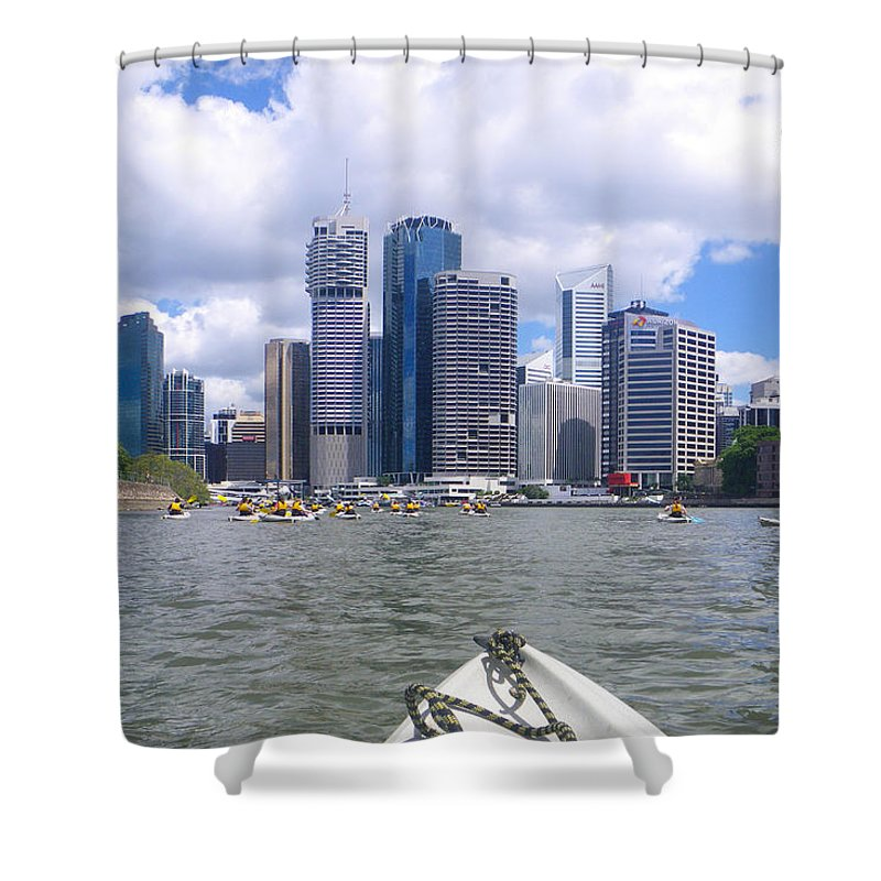 Aus Shower Curtain featuring the photograph Kayaking On The Brisbane River by Rodney Appleby