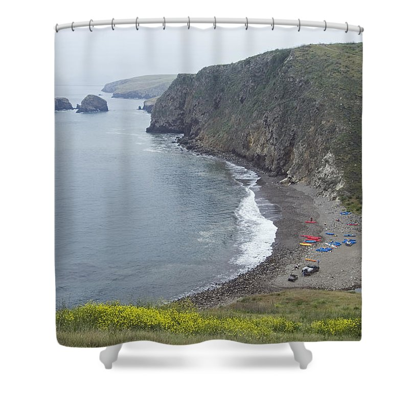 Kayaks Shower Curtain featuring the photograph Kayaks On Rocky Beach At Scorpions by Rich Reid
