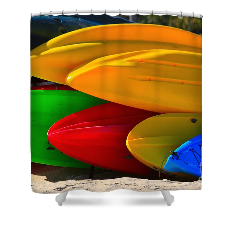 Kayaks Shower Curtain featuring the photograph Kayaks on the beach by James BO Insogna
