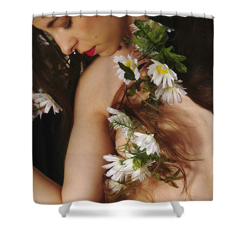 Female Nude Abstract Mirrors Flowers Photographs Shower Curtain featuring the photograph Kazi1134 by Henry Butz