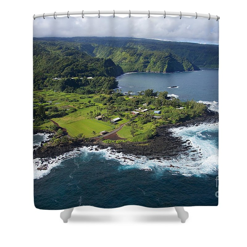 Aerial Shower Curtain featuring the photograph Keanae Peninsula Aerial by Ron Dahlquist - Printscapes