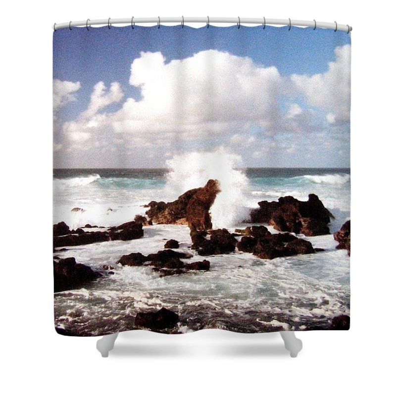 1986 Shower Curtain featuring the photograph Keanae Peninsula by Will Borden