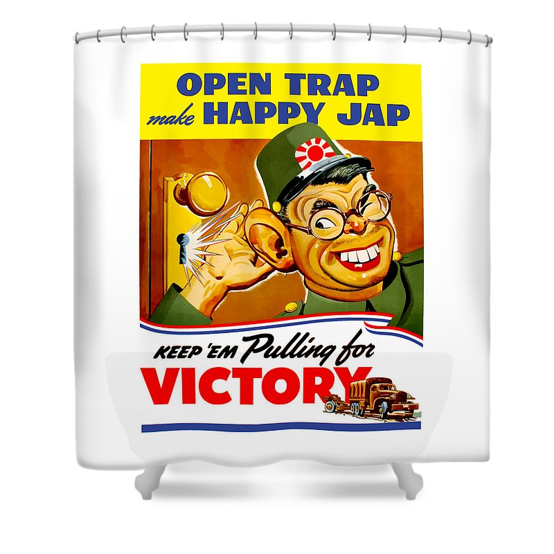 Hirohito Shower Curtain featuring the painting Keep Em Pulling For Victory - Ww2 by War Is Hell Store