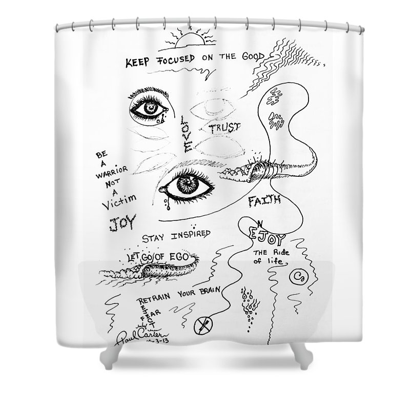 Paulcarterart Shower Curtain featuring the drawing Keep Focused by Paul Carter