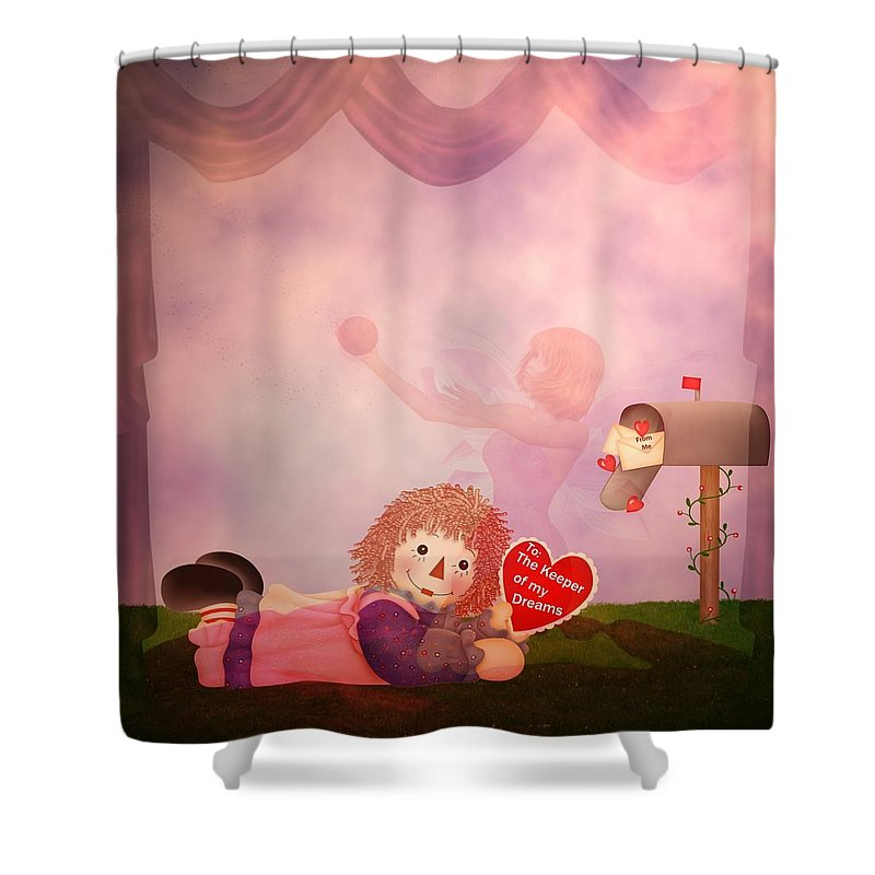 Valentine Shower Curtain featuring the digital art Keeper Of My Dreams by RiaL Treasures