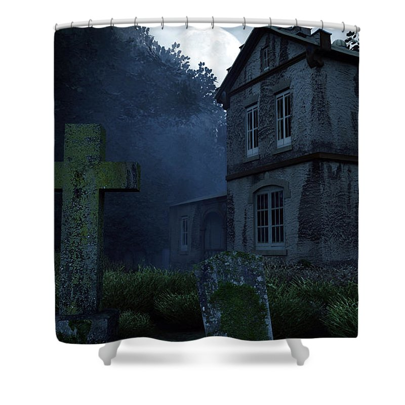 Dark Shower Curtain featuring the digital art Keepers Of The Manor by Richard Rizzo