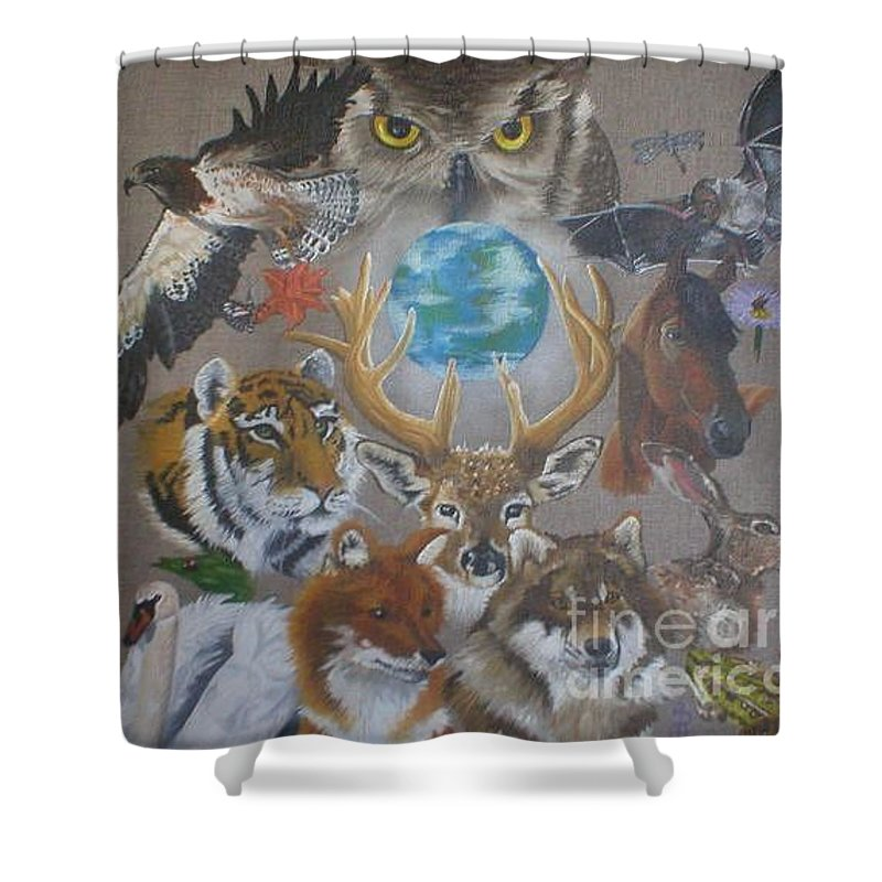 Earth Owl Bat Horse Hare Frog Wolf Deer Fox Swan Tiger Kestrel Spider Drogonfly Butterfly Ladybird Shower Curtain featuring the painting Keepers Of The Realm by Pauline Sharp