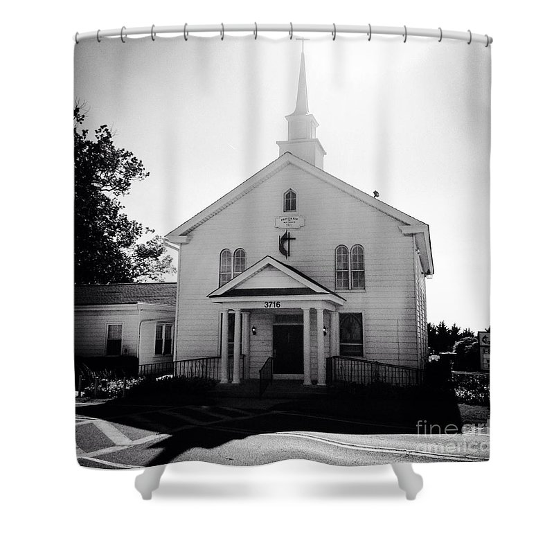 Black Shower Curtain featuring the photograph Kemptown Methodist Church by Debra Lynch