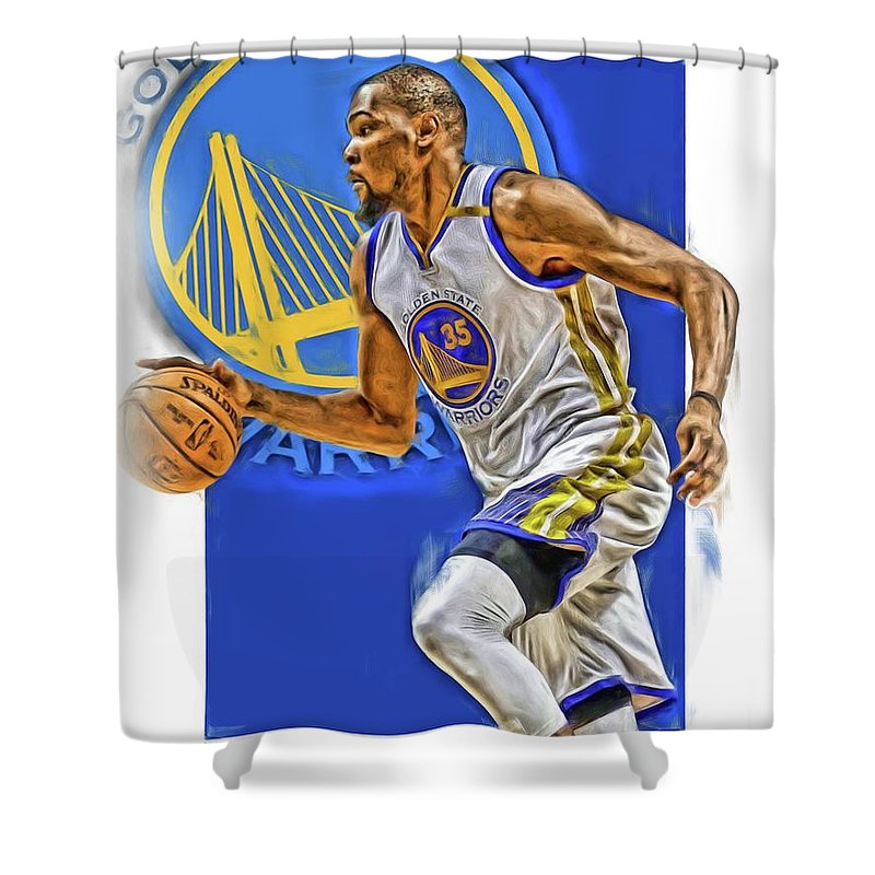 Kevin Durant Shower Curtain featuring the mixed media Kevin Durant Golden State Warriors Oil Art by Joe Hamilton